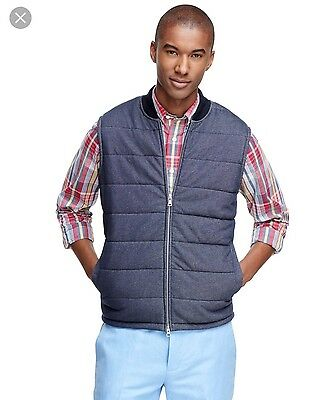 NWOT Brooks Brothers Men's Quilted Vest In GREY - L