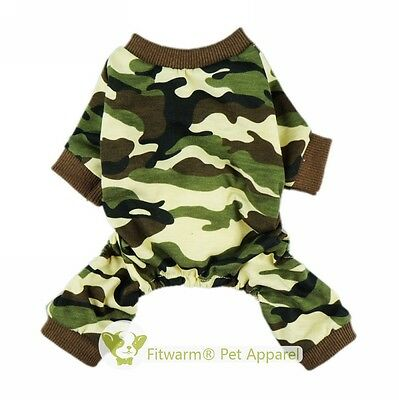 "Fitwarm 12""Chest Camo Dog Shirt XS Pet Clothes Puppy Pajamas Jumpsuit Apparel"