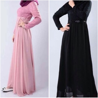 Womens Ladies Abaya Jilbab Islamic Maxi Dress Long Black Pink Lace