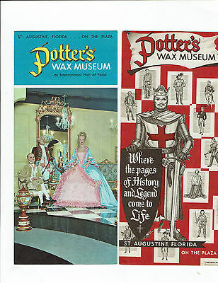St. Augustine, Fl., lot of 2 Potter's Wax Museum vintage adv. travel brochures