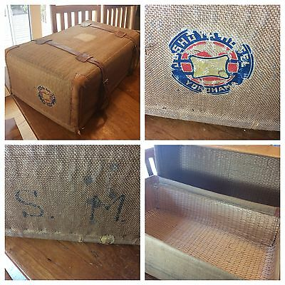 "Antique Steamer Trunk Storage Chest: Canvas, Bamboo, Wicker - 9.5"" x 17"" x 29.5"""