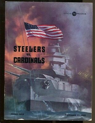 1945 Pittsburgh Steelers v Chicago Cardinals Program Forbes Field 11/11/45 Ex