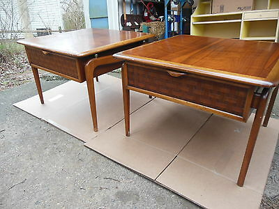 PAIR of Lane Perception Mid-Century Danish Modern End Side Table 908 02 NICE MCM