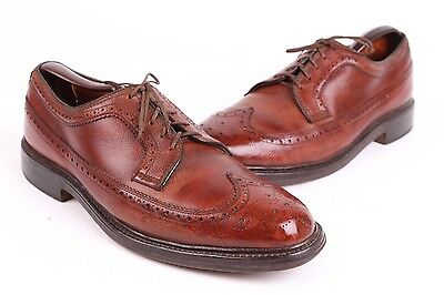 Vtg 60S Pennys Towncraft Leather Wing-Tip Oxford Dress Shoes Usa 8.5 D
