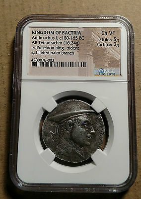 Kingdom of Bactria Antimachus I 180-165BC AR Tetradrachm NGC Certified Poseidon