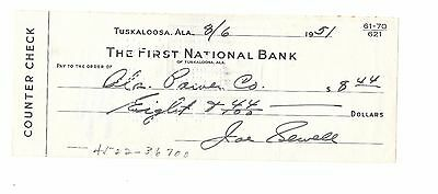 HOF JOE SEWELL signed auto autograph cancelled counter check dated 8/6/51