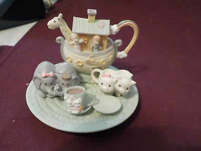 Cute 1996 Precious Moments Noah's Ark Miniture Tea Set- Missing 1 Cup