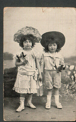 Norway 1906 two children in costume post card- Kristiana to Hinsdale IL