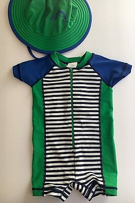 Hanna Andersson Swimmy Rash Guard Suit 9 Months 70 & Hat Navy Royal Green White