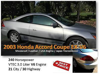 2003 Honda Accord EX Coupe 2-Door [HOT DEAL!] Honda Accord Coupe 2 Doors EX-V6 (Leather/ V6 / 240 HP) MSRP:$4,850