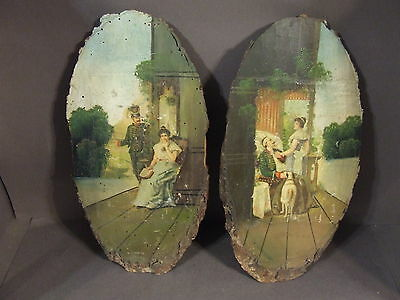 Pair Of Antique Hand Painted Victorian Soldier And Woman Wood Wall Hangings