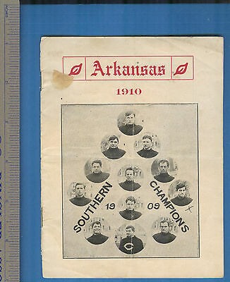 1910 Arkansas Razorbacks Booster/Schedule Booklet w/1909 Champions Photos