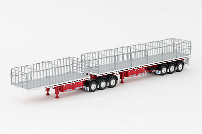 New Drake Maxitrans Freighter B Double Flat Top Trailers Red & White 1:50
