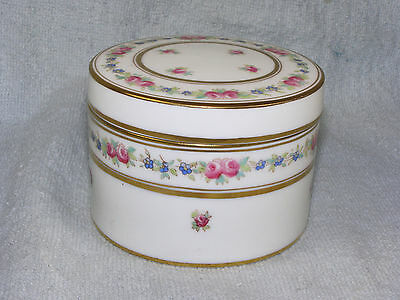 Antique Hand Painted Cauldon ROUND COVERED BOX -  Davis Collamore & Co. - 1800s