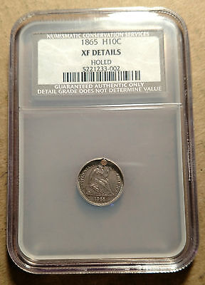 1865 P Seated Liberty Half Dime NCS NGC XF Details Holed Hole Rare Date