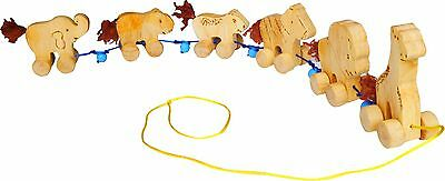 Wooden Preschool Toys - Wild Animal Pull Toy - 100 % Brand new - Safe Materials