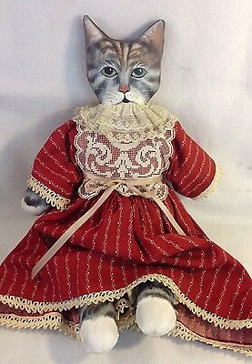 Hand Painted Gray Cat Cloth Doll Handmade Dress Bloomers Victorian Signed Keesee