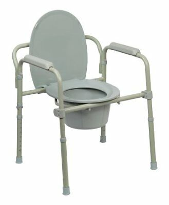 Drive Medical Commode Chair, Steel Frame, Seat Lid Back, 16.5 to 22.5 Inch