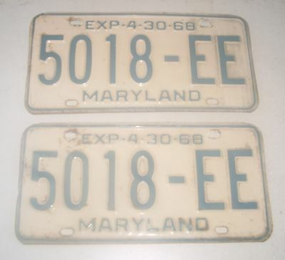 Pair Of 1968 Maryland License Plates  5018 - Ee