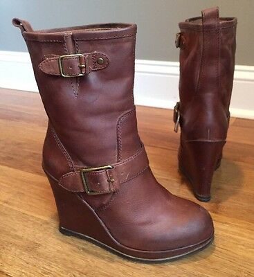 Lucky Brand Brown Leather Ankle Wedge Boots Platform Heel Women Size 6.5