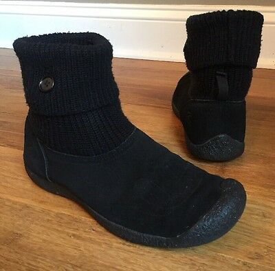 Keen Shay Black Suede Knit Cuff Ankle Boot Womens US Shoe Sz 11
