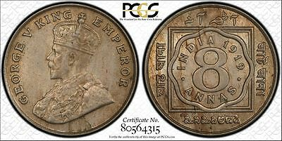 British India 1919 B george V 8 Anna PCGS 63, VERY RARE