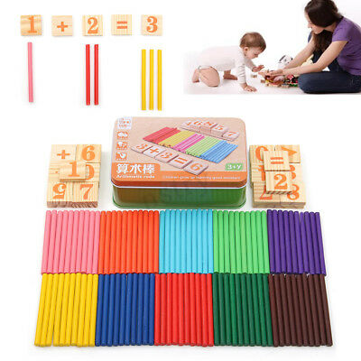Children Kids Wooden Number Mathematics Math Educational Counting 100 Stick Toy