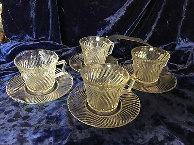 Vintage Federal Glass Diana 4 Cups with Saucers