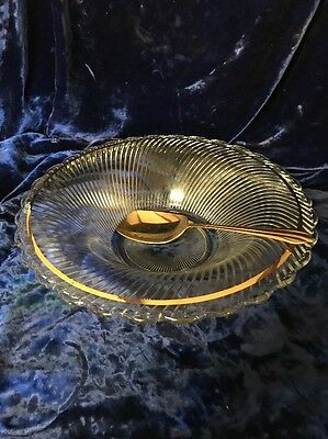 Vintage Federal Glass Diana Gold Trim Large Serving Bowl with Gold Spoon