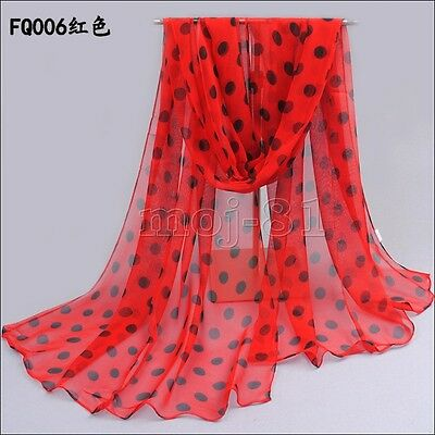 New Fashion Women Girls Long Soft Polka Dot Chiffon Scarf Wrap Shawl Scarves
