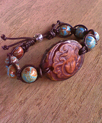 Gypsy Goddess Clay Connector Blue Crazy Lace gemstone beaded leather bracelet