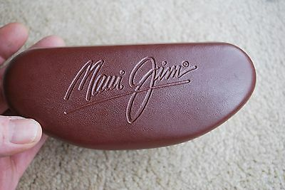 Maui Jim Sunglass Case Leather Brown Clamshell Mint