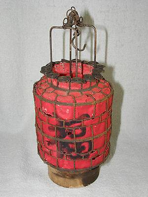 Vintage Chinese Red Cylinder Wire & Paper Hanging Candle Lantern