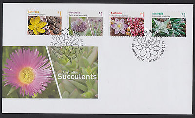 2017 :  Australian Succullents, First Day Cover with Self-adhesive Stamps