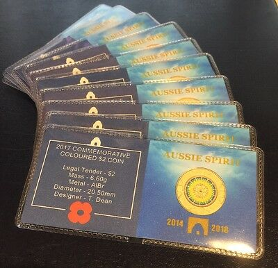 2017 $2 Anzac Lest We Forget Coin Flips X 10 (No Coins)