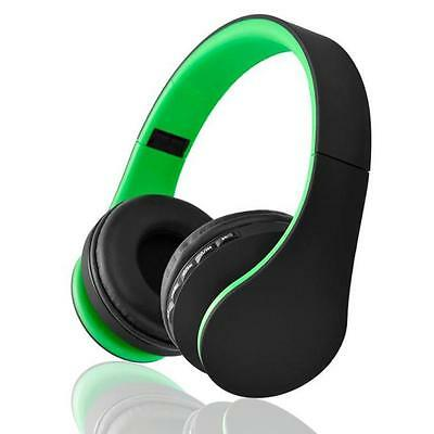 Green Wireless Bluetooth Stereo Headset Earphone Headphone with Micro SD Card FM