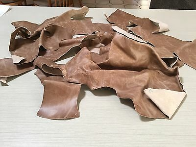 480 Gms Of European Leather Off Cuts , Colour taupe