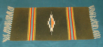 Vintage CHIMAYO New Mexico HAND LOOMED WOOL Textile Weaving Table Mat Runner
