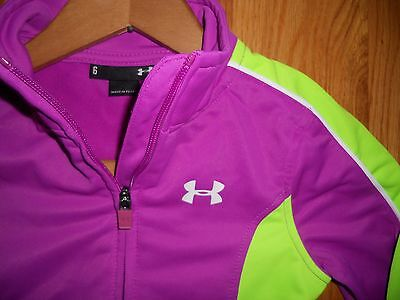Under Armour Girls Youth Sz 6 SMALL Pink full zip Poly track jacket w/ pockets