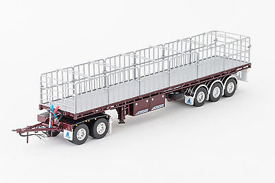 New Drake Maxitrans Freighter Road Train Trailer Set Burgundy 1:50 ZT09149