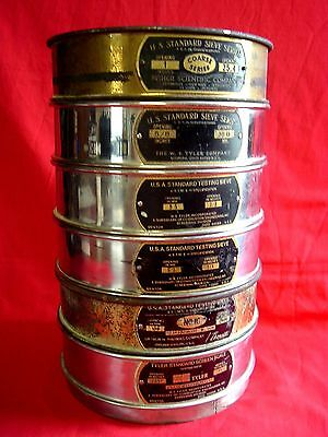 """Vintage Mixed Lot of 6 USA Standard 8"""" Sieve Lot, Soiltest, Gold Panning, Sifter"""