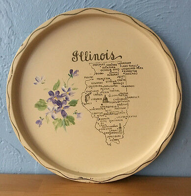 Vintage Souvenir State of Illinois Tray White Metal Prairie State Handpainted