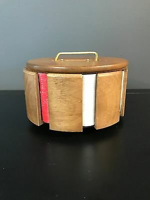 Midcentury Modern Wooden Poker Chip Caddy with Brass Handle