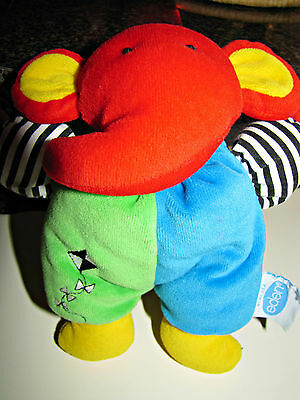 Vintage Eden Plush Elephant Primary Colors Red-Blue-Green Rattle Inside 7in