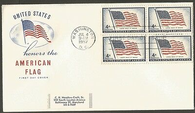 Us Fdc 1957 American Flag Long May It Wave 4C Hf Cachet First Day Of Issue Cover