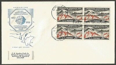 Us Fdc 1958 International Geophysical Year 3C Hf Cachet First Day Of Issue Cover
