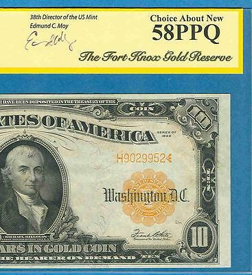 $10.1922 FR.1173a GOLD SEAL GOLD CERTIFICATE SPECIAL EDITION HOLDER PCGS AU58PPQ