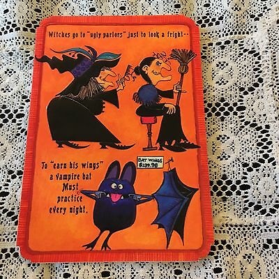 Vintage Greeting Card Halloween Bat Witch Werewolf