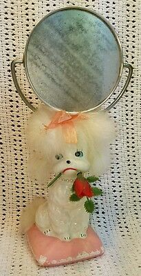 Vintage Rare 1950s 1960s Vanity Poodle Dog Rose Mirror Painted Real Fur Flips