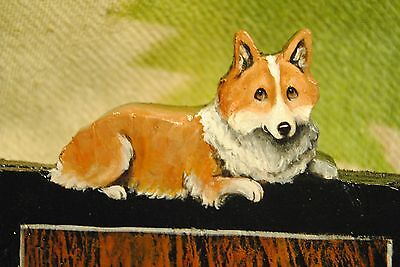 Original Painting~Welsh Pembroke Corgi~Dog~Wall~Hook~Key~Leash Hanger~Whimsical